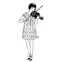 "Young Lady Play Violin (1.5"" x 3.5"") Art and Craft"