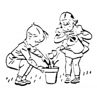 "Boy and Girl Planting (2"" x 2.5"") Art and Craft"