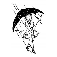 "Girl Under Umbrella [large size] (2.5"" x 4"")"