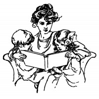 "Mother Reading to Us (2.5"" x 2.5"")"