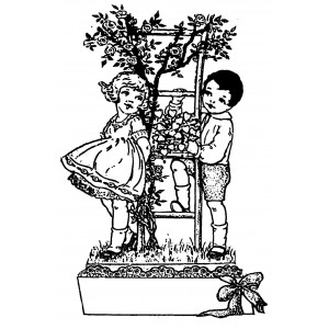 """Boy and Girl and Bouquet of Hearts [large] (2.5"""" x 3.5"""")"""