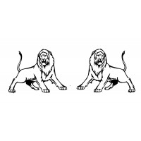 "Two Roaring Leons [small size] (1"" x 1.5"")"