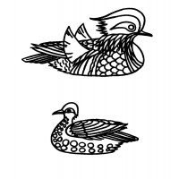 "Two Small Ducks japan vintage style (0.5"" x 1"")"