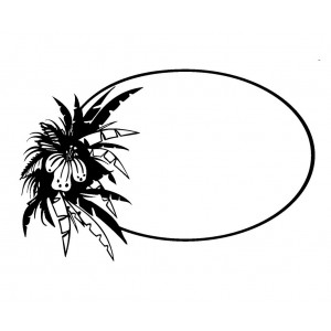 """Oval Frame with Palm Leaves (2"""" x 2.5"""")"""