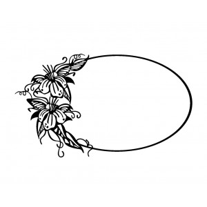 "Oval Frame with Flowers (2"" x 2.5"")"
