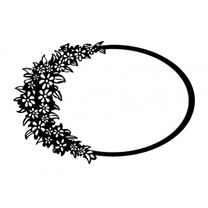 "Oval Frame with Flower Carpet (2"" x 2.5"")"