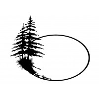 "Oval Frame with Two Pinetrees (2"" x 2.5"")"
