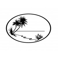 "Oval Frame with Palms and Lake (2"" x 2.5"")"