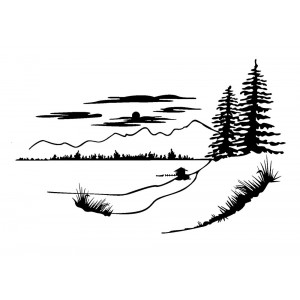 "Landscape with Pinetrees, Mountains, Clouds (2"" x 2.5"")"