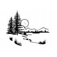 "Landscape with Pinetrees, Moon and Lake (2"" x 2.5"")"