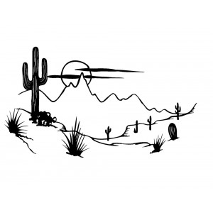 "Landscape with Desert, Cactus and Moon (2"" x 2.5"")"