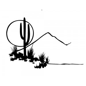 "Landscape with Cactus, Mountain and Moon (2"" x 2.5"")"