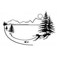 "Landscape with Pinetree, Lake and Mountains (2"" x 2.5"")"
