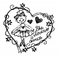 "Young Princesse Loves to Dance (2.5"" x 2.5"")"