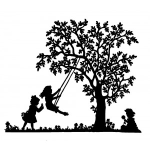 "Kindergarten. Children Swinging (2.5"" x 3.5"")"