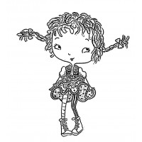 "Naughty Girl with Long Braids [small size] (2"" x 2"")"