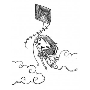 "Young Girl Flying on Kite (2.5"" x 2.5"")"
