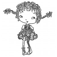 "Naughty Girl with Long Braids [large size] (2.5"" x 3"")"