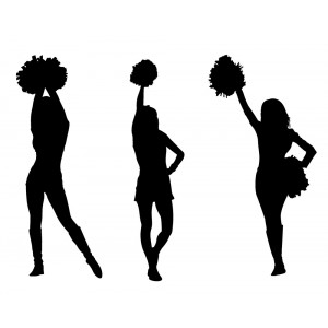"Cheerleaders Silhouettes [Pack of three] (1"" x 2.5"")"