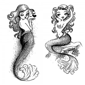 "Sexy Mermaids [pack of two] (2"" x 3"")"