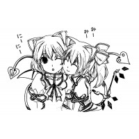 "Two Neko Girls Hugging (2.5"" x 3.5"")"