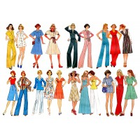 "Vintage Fashion Disco Style / Large Sheet 8""x10"""