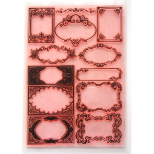"Damask Baroque Floral Frames / Large Sheet 8""x10"""