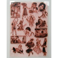 "Cute Girl Vintage / Large Sheet 8""x10"""