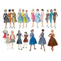 "Vintage Fashion Girls Fifties / Large Sheet 8""x10"""