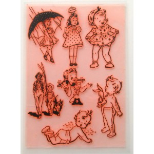 "Vintage Kids Sketches (big size stamps) / Large Sheet 8""x10"""